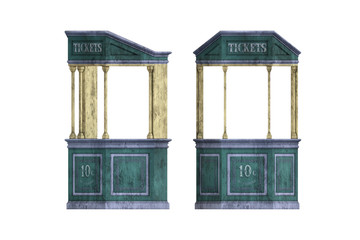 old vintage ticket booth isolated on white.