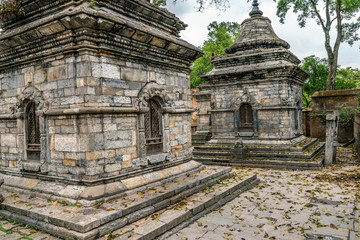 old stone stupas in hinduist temple in kathmandu. nepal.
