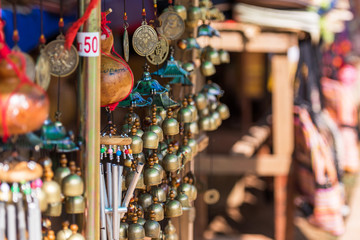 Souvenirs in the local market in Luang Prabang, Laos. Close-up.