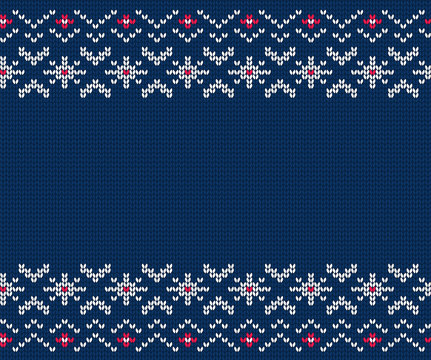 Knitted seamless pattern for sweater. Vector background
