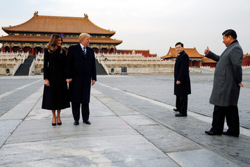 U.S. President Donald Trump and U.S. first lady Melania visit the Forbidden City with China's President Xi Jinping in Beijing