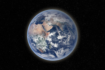 Planet Earth in the solar system. Elements of this image are furnished by NASA