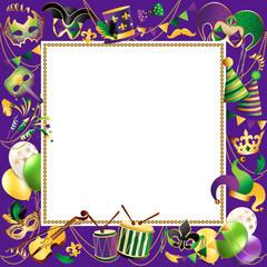 Frame Template with Golden Carnival Masks on Black Background. Glittering Celebration Festive Border. Vector Illustration.