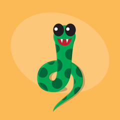 Snake cartoon flat cute card