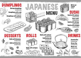 Menu with ink hand drawn sushi illustration.