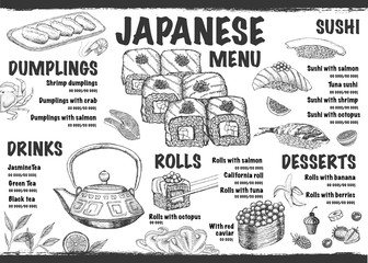 Menu with ink hand drawn sushi illustration.