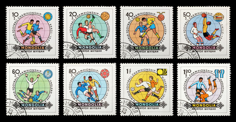 Postage stamps. Mongolia. Football World Cup - Spain