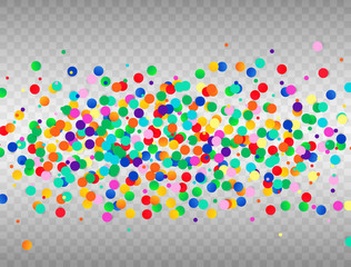Colorful confetti on transparent background. Vector illustration