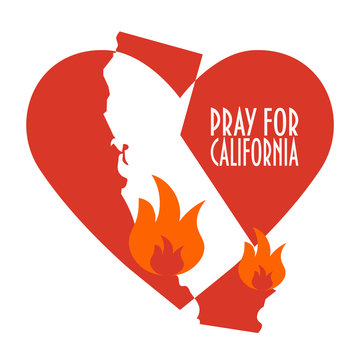 Support illustration for charity donation and relief work after wildfires in southern California. Wildfires, Heart shape and California map silhouette.