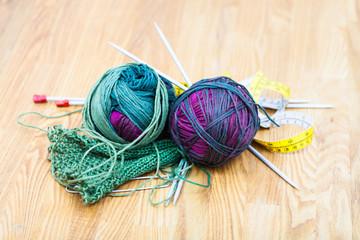 knitting tools and wool yarns