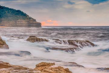 Rocky and Moody Sunrise Seascape