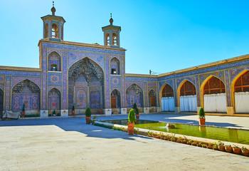 The portal with minarets of Nasir Ol-Molk mosque, Shiraz, Iran