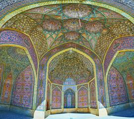 Panorama of the summer mosque in Nasir Ol-Molk, Shiraz, Iran