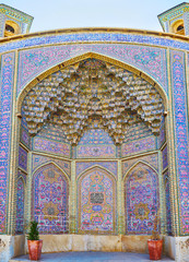 Tiled decors of Nasir Ol-Molk mosque, Shiraz, Iran