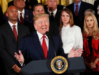 U.S. President Trump speaks about administration plans to combat the nation's opioid crisis in the East Room of the White House in Washington