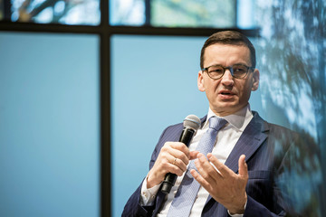 Finance Minister Mateusz Morawiecki attends a conference at the Warsaw Stock Exchange