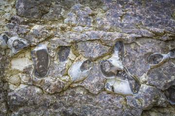 Einschlüsse von Halbedelsteinen an der Whiterocks Bay in Nordirland