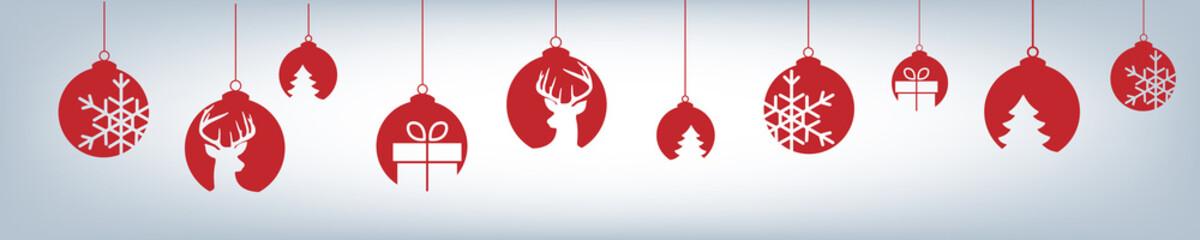 Banner aus verschiedenen Christbaumkugeln - Weihnachten