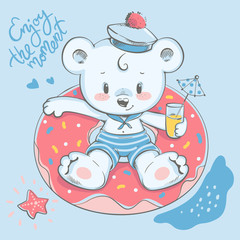Cute little bear swimming with ring cartoon hand drawn vector illustration. Can be used for baby t-shirt print, fashion print design, kids wear, baby shower celebration, greeting and invitation card.