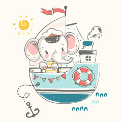 Cute baby elephant sailor on the ship cartoon hand drawn vector illustration. Can be used for baby t-shirt print, fashion print design, kids wear, baby shower celebration greeting and invitation card.
