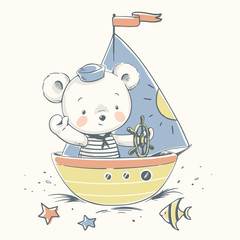 Cute baby bear sailor on a boat cartoon hand drawn vector illustration. Can be used for baby t-shirt print, fashion print design, kids wear, baby shower celebration, greeting and invitation card.