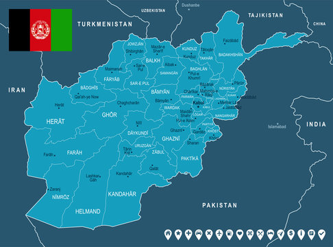 Afghanistan - map and flag - Detailed Vector Illustration