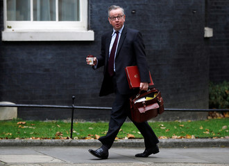 Michael Gove, Britain's Secretary of State for Environment, Food and Rural Affairs arrives in Downing Street, in London