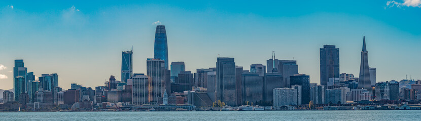 San Francisco Business District Seen From A-crossed The Bay At Treasure Island