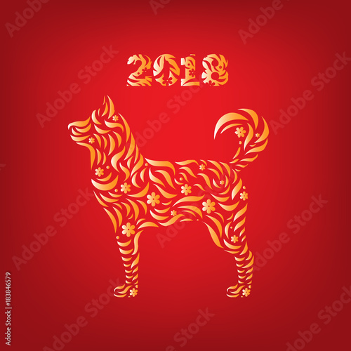 chinese new year design vector celebration card dog horoscope 2018 poster invitation