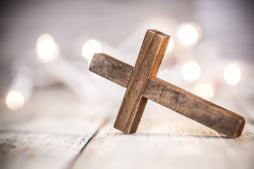 Wooden Christian Cross Background