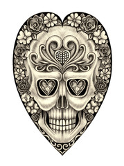 Art Design flower heart mix skull. Hand pencil drawing on paper.