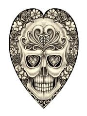 Art Design flower heart mix skull. Hand pencil drawing on paper.