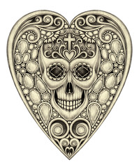 Art heart mix gems and skull day of the dead. Hand pencil drawing on paper.