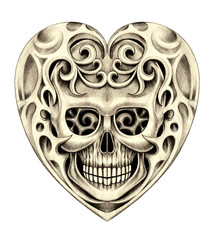 Art heart skull tattoo. Hand pencil drawing on paper.