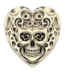 Art heart skull tattoo. Hand pencil drawing on paper.