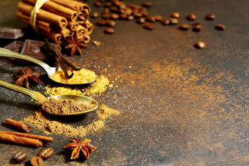 Food background with oriental spices.