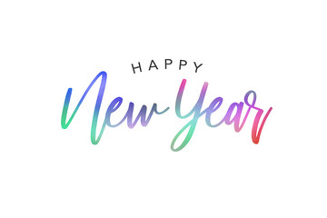 Wall Mural - Happy New Year Colorful Calligraphy Vector Text Over White Background