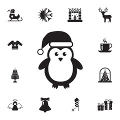 Cute Penguins wearing Santa Claus hat icon. Set of elements Christmas Holiday or New Year icons. Winter time premium quality graphic design collection icons for websites, web design