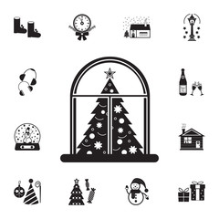 Christmas eve concept on whe window icon. Set of elements Christmas Holiday or New Year icons. Winter time premium quality graphic design collection icons for websites, web design