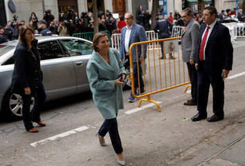 Speaker of Catalan parliament Forcadell arrives to Spain's Supreme Court after being summoned to testify on charges of rebellion, sedition and misuse of public funds in Madrid