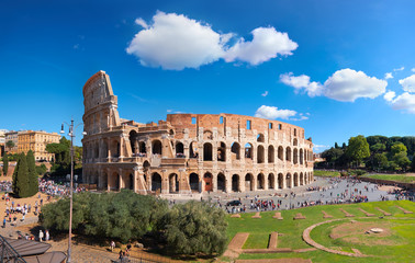 Rome, Italy. View of Colosseum from the Palatine Hill on a sunny day