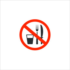No eating and drinking. Vector Illustration