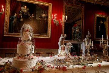 Carole Copeland poses as the character Miss Havisham during the Dickens themed annual Christmas event at Chatsworth House near Bakewell