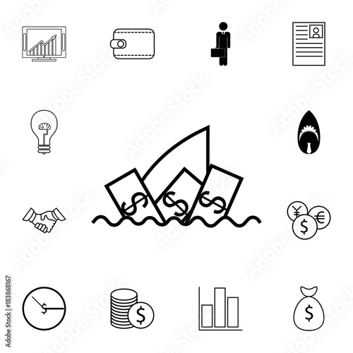 Business Shark Concept Icon Finance Symbol Icon Set Of Business