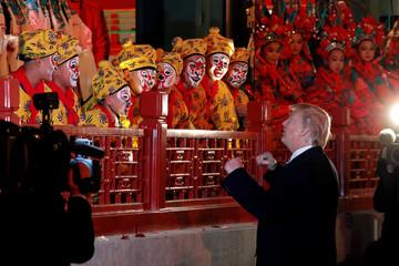 U.S. President Donald Trump meet opera performers at the Forbidden City in Beijing