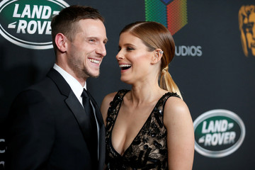 Actors Jamie Bell and Kate Mara pose at the AMD British Academy Britannia Awards in Beverly Hills