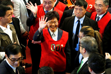 Hong Kong Chief Executive Carrie Lam attends a ceremony to mark the end of floor trading at the Hong Kong Exchanges in Hong Kong