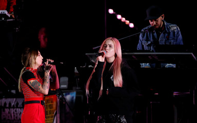 """Michaels and Kiiara perform during the """"Linkin Park & Friends Celebrate Life in Honor of Chester Bennington"""" concert at Hollywood Bowl in Los Angeles"""