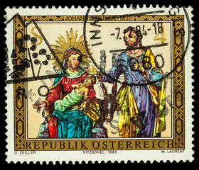 Holy Family on postage stamp