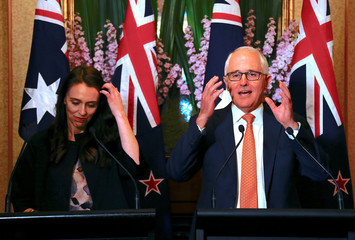 Australia's Prime Minister Malcolm Turnbull talks as he stands with New Zealand Prime Minister Jacinda Ardern during a media conference in Sydney